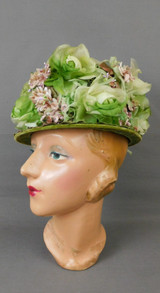 Vintage Green and Taupe Floral Hat, Tall 1960s Flowers by Linda Farrell, 22 inch head