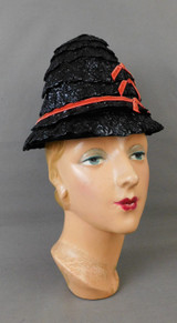 Vintage Black Shiny Straw Hat with Red Bows, 1960s, 21 inch head