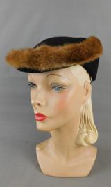 Vintage 1940s Black Felt Hat with Mink Fur Trim, Tilt Hat, 23 inch head