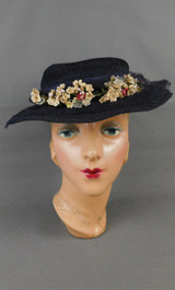 Vintage 1930s Black Straw Wide Brim Tilt Hat, Tiny Flowers and Netting, 22 inch head