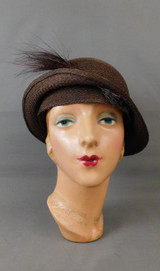 Vintage 1920s Brown Straw Cloche Hat with Feathers, large 24 inch head