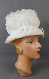 Vintage Off White Chiffon and Lace Hat 1960s Wedding, 21 inch head