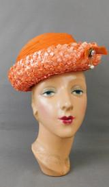 Vintage Orange Chiffon & Straw Hat 1960s Mr. Michael, 21 inch head