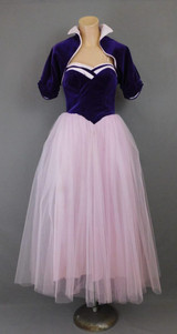 Vintage Prom Formal Dress Purple Cotton with Pink Tulle Skirt, Strapless 1950s 34 inch bust