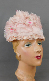 Vintage Pink Chiffon Floral Bucket Hat, small 1960s