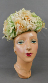 Vintage Ivory, Peach and Green Floral Hat 1960s, 21 inch head