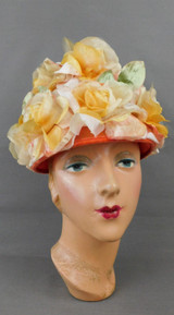 Vintage Yellow, Peach and Pink Floral Hat Tall 1960s Bucket Flowers 21 inch head