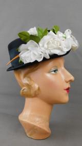 Vintage Black Hat with White Roses Flowers, 1950s, short brim