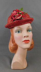 Vintage Red Straw Bowler Style 1940s Topper Hat with Flowers, 21 inch head