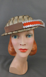 Vintage Fabric & Straw Hat with Buttons 1960s, 21 inch head, some issues