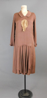 Vintage 1920s Brown Silk Crepe Day Dress, 32 inch bust, AS IS Damaged