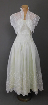 Vintage Embroidered Organdy Strapless Dress with Matching Bolero Jacket, 1950s White & Green Prom Formal Party, 33 inch bust