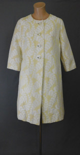 Vintage 1960s Yellow Brocade Dress Coat, fits 36 inch bust Dressy