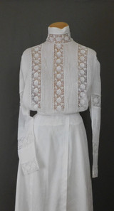 Vintage Edwardian Blouse White Cotton Wide Lace Antique 1900s, fits 38 inch bust, Gibson Girl