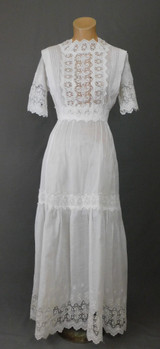 Antique Edwardian White Lace Dress, Vintage 1900s Cotton XS 30 inch bust, some issues