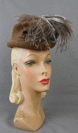 Vintage 1940s Brown Feather Topper Hat, New York Creation label