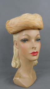 Vintage Creamy Ivory Feather Hat by Gay Paree, 1950s Evening Topper, 21 to 22 inch head