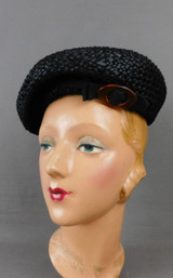 Vintage Black Straw Pancake Hat with Brown Plastic Tortoise Buckle 1930s, Beret Style 22 inch size head