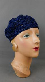 Vintage Black & Blue Metallic Crochet Hat, 1970s, fits 21 to 23 inch head