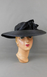 Vintage 1940s Black Wide Brim Straw Hat with Open Top, 21 inch head, New York Creation label