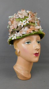 Vintage Beige & Peach Floral Hat with Green Leaves and brown Velvet Ribbon, 1960s, 21 inch head