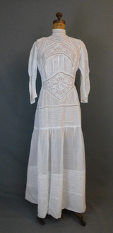 Vintage Edwardian White Cotton Dress with Lace & Embroidery, 1900s 38 inch bust