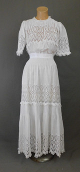 Edwardian White Cotton Dress, Vintage 1900s Eyelet Gown, 32 inch bust