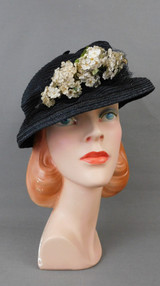 Vintage 1930s Black Straw Floral Hat, Sheer with Tiny Flowers, 22 inch head