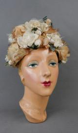 Vintage Ivory and Beige Floral Hat 1960s, Modern Miss
