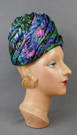 Vintage Blue, Green & Gold Fabric Hat, 1960s Tall Toque by Maxine