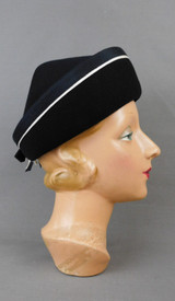 Vintage Black Felt Hat with White Ribbon Trim, 1960s 22 inch head, Pointed top