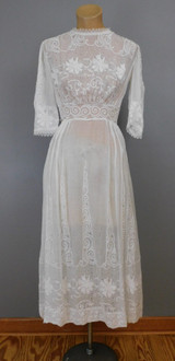 Vintage Edwardian Eyelet Cotton Dress, fits 32 inch bust, Floral Embroidery, as is with Issues