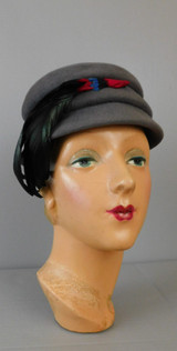 Vintage Grey Felt Hat with Feathers, 1950s 21 inch head