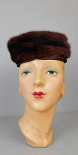 Vintage Brown Fur and Satin Hat 1960s Pillbox, 21 inch head, by Deborah Exclusive