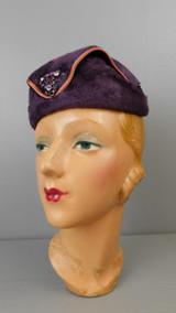 Vintage Dark Plum Felt Hat with Satin Trim and Rhinestone Decor, 1950s, 21 inch head