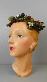 Vintage Berries and Leaves Hat Open Top Green Frame, 1950s 21 inch head
