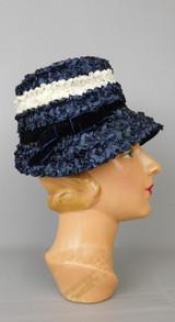 Vintage Navy & White Straw Raffia Hat with Velvet Bow, 1960s Bucket 21 inch head