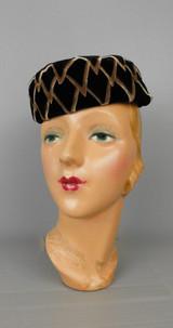 Vintage Black & Brown Velvet Points Hat 1950s 22 inch head