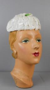 Vintage White Velvet Petals Hat with Glitter and Rose, 1960s Wedding