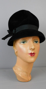 Vintage Tall Black Felt Velour Hat 1960s, 21 inch head with rounded top, downward brim