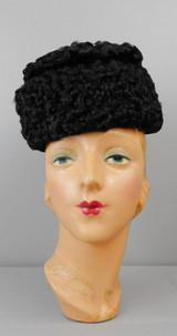 Vintage Black Curly Persian Lamb Fur Hat 1950s, 21 inch head, with Velvet Ribbon