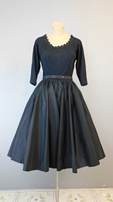 Vintage 1950s Wool and Taffeta Evening Dress with full skirt, fits 35 inch bust R&K Original