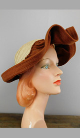 Vintage 1940s Straw & Wool Felt Hat with Wide Wavy Brim Ivory and Cinnamon Brown, New York Creation label