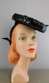 Vintage 1940s Tilt Hat Shiny Straw Raffia and Rayon Faille, Dramatic Evening Topper with Strap