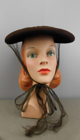 Vintage Brown Felt Tilt Disk 1940s Hat with Netting Ties, Creations by Lecie