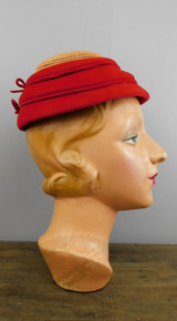Vintage Red Felt Hat with Ridged Sides and Rayon Cord, 1940s, 21 inch head