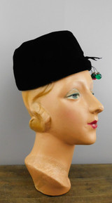 Vintage Christmas Hat Black Velvet Toque with Red & Green Christmas Ornaments