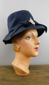Vintage Navy Rhinestone brooch Hat, 1960s Straw Fabric, 21 inch head