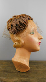 Vintage Brown Velvet Petals Hat with veil and Bow, 1960s