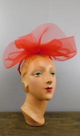 Vintage Red Sheer Bows Hat with Beads and Sequins, 1980s Dramatic
